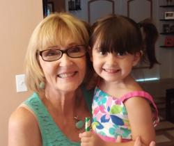 "Karen Tristram Watson and her little ""mini-me,"" granddaughter Lana."